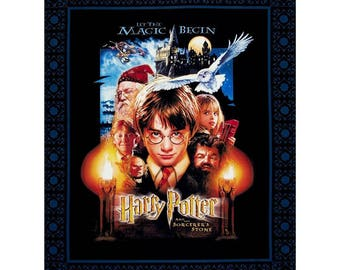 """Harry Potter Fabric: Camelot Harry Potter Sorcerer's Stone Digital Panel  100% cotton Fabric by the panel 36""""x44"""" (ca311)"""