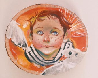 James and the Giant Peach Basswood Acryl Gouache Painting