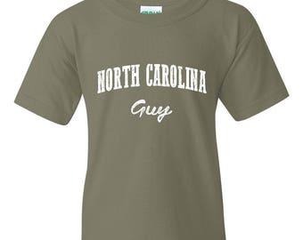 Free Shipping! Blue Tees NC North Carolina Flag Charlotte Map 49ers Home of University of NC UNC Guy Unisex Youth Kids T-Shirt Tee Clothing