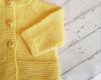 Little Cardigan - Size 00 - Hand Knitted - Merino Wool