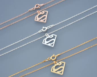 ZOUX172 necklace delicate sterling silver, initial Locket S Superman, Supergirl and oval mesh chain, Silver 925 grey pink and gold