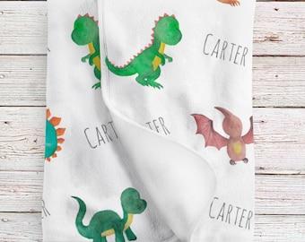 Personalized Baby Boy Name Blanket, Dinosaur watercolor print (BB114)