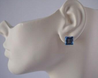 Light blue rhinestone stud earrings