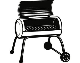 BBQ Grill #6 Grilling Barbecuing Barbecue Cooking Cook Out Chef Food Kitchen Restaurant Logo Label Emblem.SVG .EPS Vector Cricut Cut Cutting