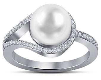 Pearl Engagement Ring, White Pearl Ring, 14K White Gold Pearl Engagement Ring, Diamond Pearl Gold Ring, Akoya Pearl Ring, Size 7