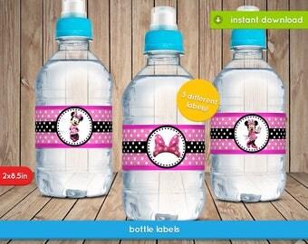 Minnie Pink Bottle Labels - Disney Minnie Mouse Water bottle Label, Decoration, Favors - JPG INSTANT DOWNLOAD