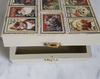 Gift Box, Wood box, Jewel Box, Trinket Box, Keepsake Box, Painted Gift Box, Decoupaged Box, Cat Design Box, Cat prints on box, Beaded Box,