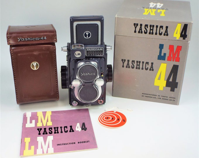 Museum Quality Rare Gray Yashica 44 LM Camera w/Orig Boxes, Leather Case & Strap, Metal Lens Cap, Books, Papers, Film - 100% Fully Working!