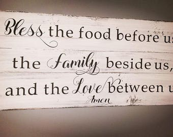 Bless The Food Before Us Wood Kitchen Sign Dining Room Sign Pallet Wood Sign  Rustic Chic