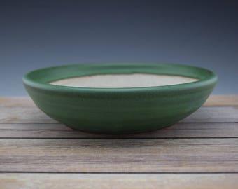 Green Bonsai Pot, Handmade Ceramic Planter, Plant Pot, Succulent Planter, Wheelthrown
