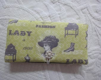 fabric checkbook LADY 1900 lime and grey