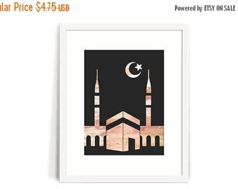 RAMADAN SALE Marble Masjid and Crescent Moon in Pink with Pink and Gold Accents 8x10 Printable, Islamic art, dua art print