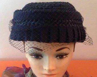 On Sale Ladies Vintage Blue Woven Hat