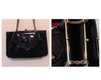Anniversary Sale Vintage Black Patent Leather 3 Compartment Purse