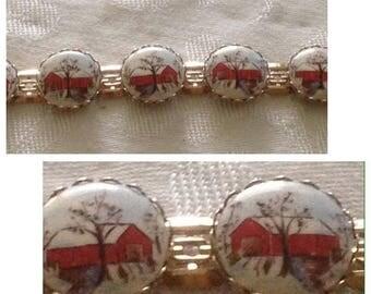 Anniversary Sale Lovely Porcelain Painted Link Bracelet