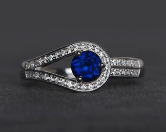 wedding ring blue sapphire ring round cut blue gemstone sterling silver ring September birthstone