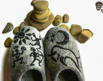 Men Slippers Felted African Tribal Shoes Taurus Zodiac Sign Bull Symbol Native American Dad Father Rock Painting Cave Drawing Bow Hunter