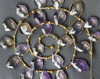 23 piece faceted AMETRINE  fancy beads 12 x 14 -- 13 x 21 mm approx