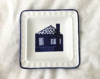 Tiny Blue House Hand-painted Ceramic Plate
