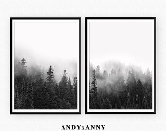 Black and White Forest Print Set of 2 Prints, Forest Wall Art, Scandinavian Print, Minimalist Landscape Nature Photography, Poster Print Set