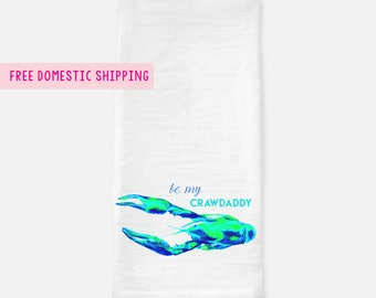 Funny Tea Towel Flour Sack // Funny housewarming gift // Louisiana Gift // Louisiana Home Decor // New Orleans Baton Rouge // Crawfish Art