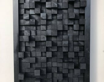 Wooden art sound diffuser black hanging acoustic panel studio theater sound dampening treatment pixel