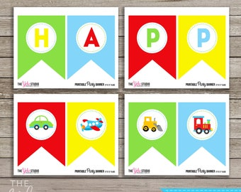 Transportation birthday banner | Transportation birthday | Cars and trucks party | Personalized printable banner