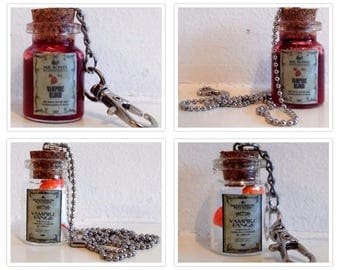 Vampire blood and Vampire fangs Potion Poison Bottle necklaces & keyrings witchcraft gift for witch wizard or vamp lover cosplay