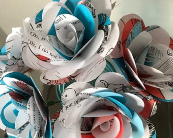 Cat in the Hat Book Paper Roses, Half Dozen, Dr. Seuss Paper Flowers, Childrens Book Roses
