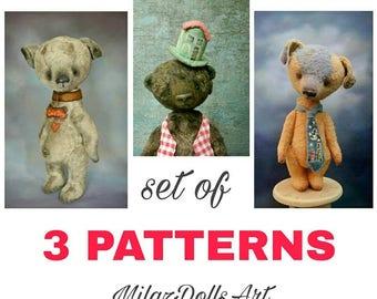 Teddy bear pattern PDF file download Teddy dog pattern Artist teddy bear OOAK pattern Bear sewing pattern vintage teddy bear french teddy