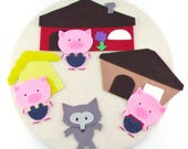 3 Pig Felt Board Story, Learning Toy Montessori, Educational Toy, Montessori at Home, Montessori Home Toy, Preschool Teacher, Busy Book Page