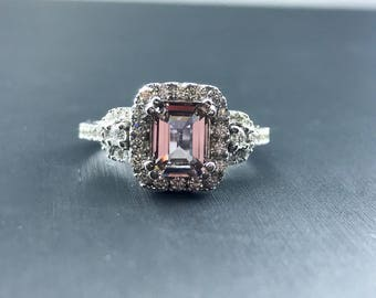 The Pinkle Sapphire - Emerald Cut Sapphire - Pave Halo - Color Stone - Engagement Ring - Alternative Engagement Ring - Pink Ring