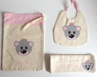 Girl's school set ( bib, bag and towel)