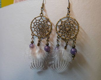 Dream catcher earrings dream & feather duck