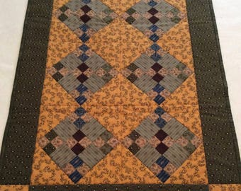 Handmade Double 9 Patch Quilt in Olive Green and Mustard Yellow