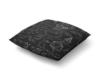 Do the Math - Printed Floor Pillow With Mathematical Equations - Available in 2 Sizes