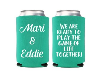 12+ Game of Life Wedding Can Coolers, Beverage Insulator, Bachelorette Favor, Bridesmaid Can Holder, Bach Party Bottle Insulator