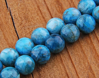 "8mm Apatite Beads , Gemstone Beads , Genuine Apatite Beads , Round Stone Beads , Natural Apatite Beads Smooth 15.5"" inch Strand"