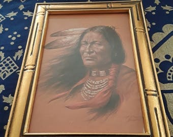 Vintage Framed Bill Hampton Native Print