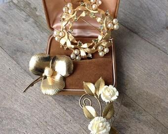 Vintage Jewelry Trio including Winard leaf pin