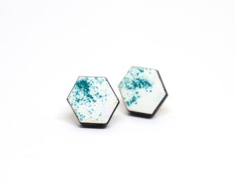 Earrings honeycomb wood white/petrol