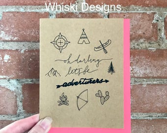 Oh Darling, Let's Be Adventurers A2 Greeting Card