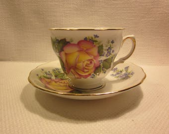 Royal Vale vintage bone china English teacup and saucer, cottage roses, shabby chic