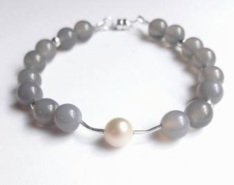 MOSS Agate bracelet gray and Freshwater Pearl, fresh & 925 sterling silver, natural stones.