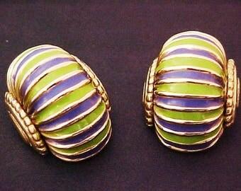 Gay Boyer Enamel Nautilus Earrings Lime Green Violet Clips vintage gold tone