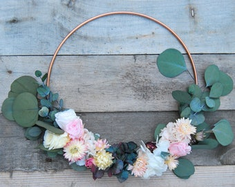 Flower Hoop, Alternative bouquet, bridesmaid bouquet, floral hoop, wedding bouquet, dried flowers, rustic bouquet, boho, floral wreath