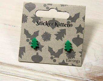 Christmas Tree Earrings - green festive xmas tree earrings, Christmas jewellery, cute earrings, acrylic stud earrings