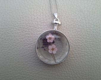 dried flower glass pendant necklace