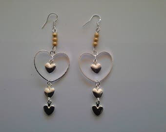Earrings hearts and beads Gold Silver 925