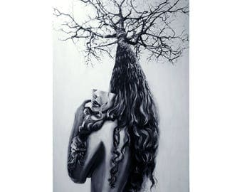 Original Large Canvas Painting Acrylic One of a Kind OOAK Stretched Modern Female Portrait Surreal Black and White Nature Tree Gallery Art